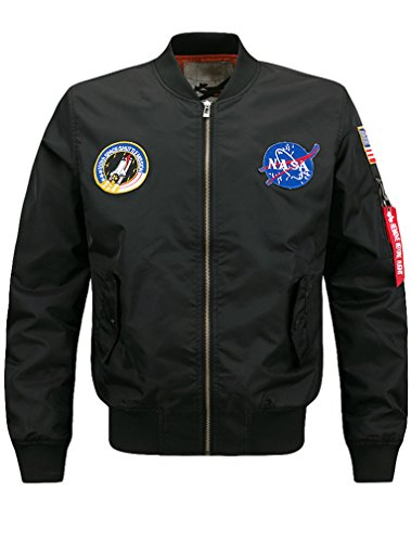 Lavnis Men's Lightweight Bomber Jacket Air Sky Flight NASA Jacket Hip Hop Windbreaker Outwear Thick Style Black XL