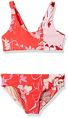 Maaji Girls' Over The Shoulder Fixed Strap Bralette Swimsuit Set, Candies and Spirits Red Floral, 6