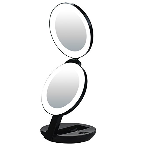 LED Lighted Travel Makeup Magnifying Mirror,Magnifies 10x and 1x, Luxury Double Side and Folding Pocket Vanity/Cosmetic Mirror (black)