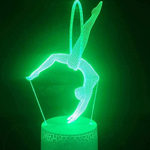 tian tian baby Juguete de luz Nocturna 3D Lámpara de ilusión remota 3D Lámpara de Escritorio 3D Aro Ejercicio Gimnasia rítmica bebé Sensor Figura Personalizada Lámpara de luz Nocturna LED