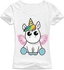 Mujer Unicornio Camiseta de verano manga corta T shirt Tops