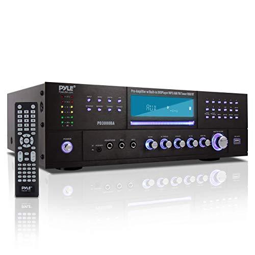 Pyle 4 Channel Wireless Bluetooth Amplifier - 3000 Watt Stereo Speaker Home Audio Receiver w/ FM Radio, USB, 2 Microphone w/ Echo for Karaoke, Front Loading CD DVD Player, LED, Rack Mount - PD3000BA
