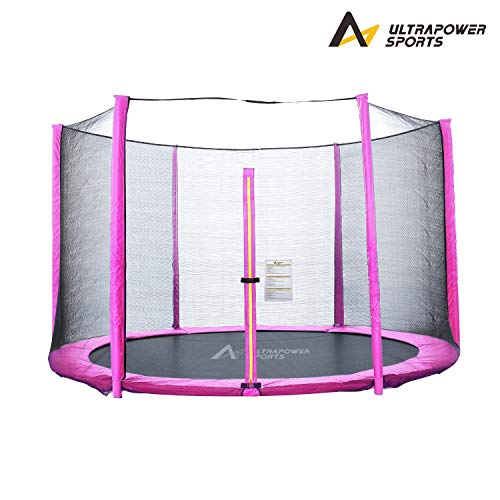 Trampolinzubehör Set für Trampolin 244 305 366 430 cm 6/8 Stangen beinhaltet: 180cm Höhe Ersatznetz Sicherheitsnetz Trampolinnetz + PVC - UV beständige Federabdeckung Randabdeckung - Pink 366cm