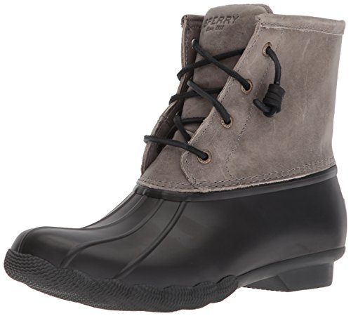 Sperry Womens Saltwater  Boots, Black/Grey, 8