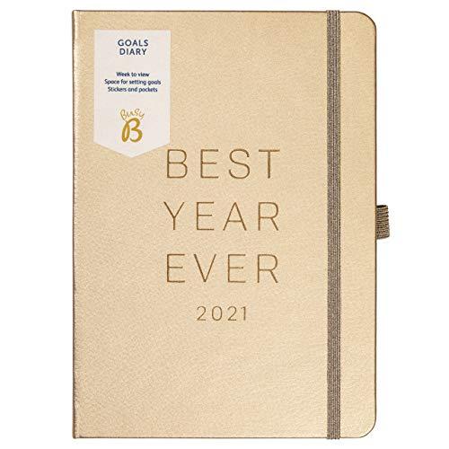 Busy B - Zielkalender von Januar bis Dezember 2021 - A5 Rosengold Zielplaner mit Wochenansicht, Stickern, Steckfächern und Notizen