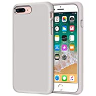 Anuck Case for iPhone 8 Plus Case, for iPhone 7 Plus Case 5.5 inch, Soft Silicone Gel Rubber Bumper Case Microfiber Lining Hard Shell Shockproof Full-Body Protective Case Cover - Stone