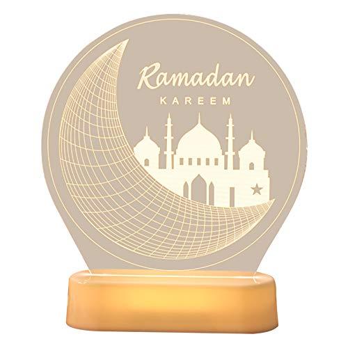 Eid Mubarak Night Light,Moon Star Lights,Ramadan Mubarak Decorative Lights Eid Decorations Wooden Moon Star Lights Tabletop Ornaments for Home Party Supplies (A)