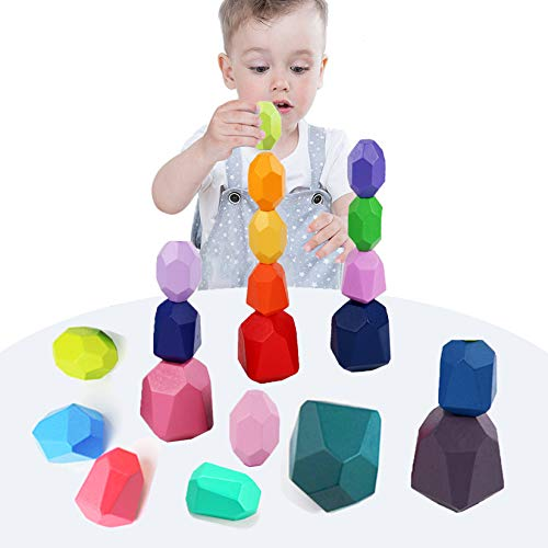 VR CHAMPS Wooden Stacking Balance Building Blocks Set- 20 Pcs Colored Wood Sorting Stacking...
