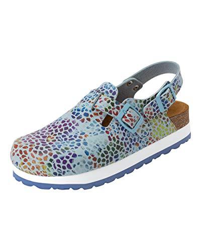 CLINIC DRESS Clog - Clogs Damen bunt Mosaik. Schuhe für Krankenschwestern, Ärzte oder Pflegekräfte hellblau/bunt, grafisches Muster, Mosaik 36
