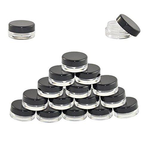 Butterme 25/50/100 pièce 5 Gramme plastique transparent Contenants vides Stockage Petit Cosmetic Containers Pot Jars pour Maquillage Fard à Paupières Poudre Crèmes