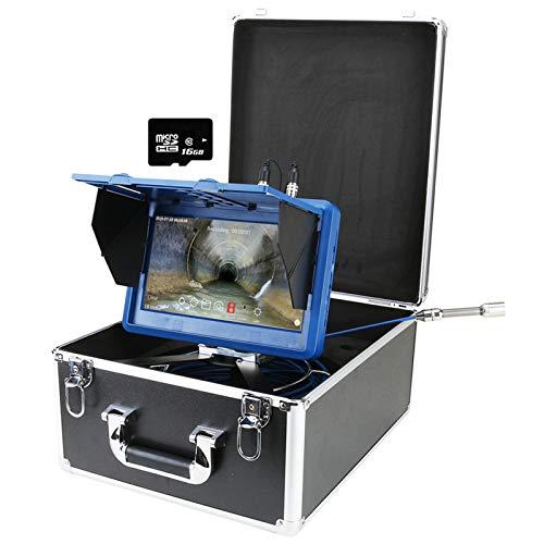 Cámara de inspección de tuberías WIFI DVR con contador de medidor, cámara de video de drenaje y alcantarillado, endoscopio de tubería IP68, boroscopio con monitor de 10 pulgadas, con cable,50m