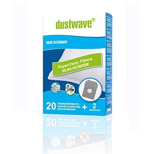 dustwave® - 20 bolsas de aspiradora + 2 filtros de microfieltro de varias capas para Bosch, Siemens, UFESA y compatible con Swirl S70 – dustwave® bolsas para el polvo fabricadas en Alemania