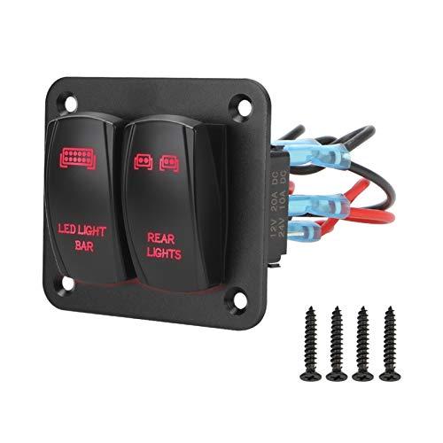 YINLONG Con arnés de cableado Ligero LED 5 Pin ON/Off Toggle FIT para EL COCH ATV UTV Interruptor Panel de Control 2 Panel de interruptores de Rocker (Color : Red)