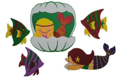 alles-meine.de GmbH 5 TLG. Set 3-D ! Wandtattoo / Fensterbild Moosgummi Meerjungfrau Fisch - 3-D Wandsticker / wasserfest - ideal auch für das Badezimmer