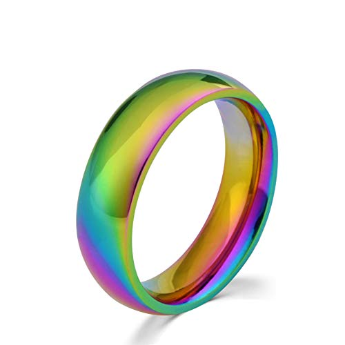 Rainbow Ring LGBT Pride Ring for Lesbian & Gay True Love Wedding Engagement Bands Promise Ring Stainless Steel Size 10