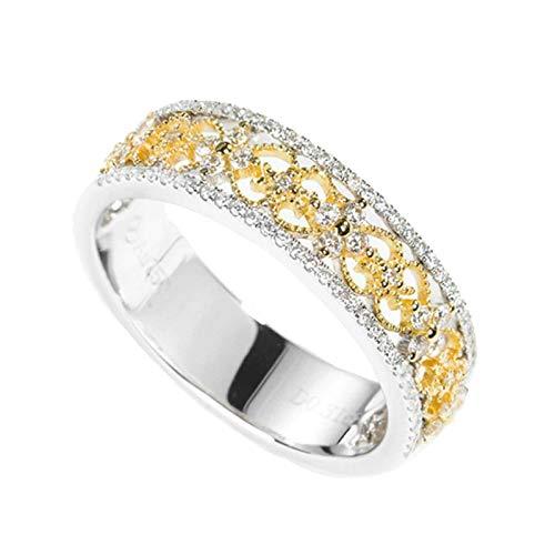 AueDsa Anillo Oro Anillos de Oro Mujer 18 K Flor Hueca Diamante Blanco 0.31ct Anillo Talla 11