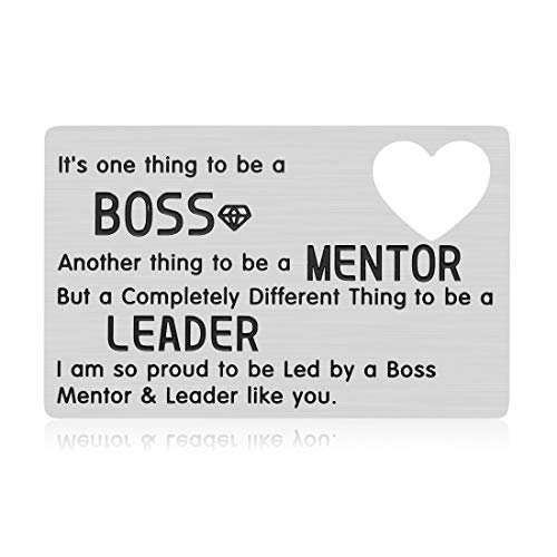 Boss Birthday Appreciation Gifts for Men Mentor Leader Leaving Going Away Christmas Gifts Colleague Coworker Engraved Thank You Wallet Card for Women Him Her Goodbye Farewell Presents
