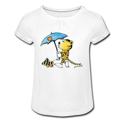 Janosch Kleiner Tiger Tigerente Mit Schirm Mädchen T-Shirt mit Raffungen, 4 Jahre, Weiß