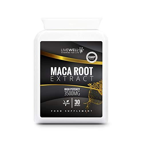 Maca Root Capsules 3500mg   30 Vegan Capsules   Maca Root Powder Extract 3500mg per Capsule   UK Made