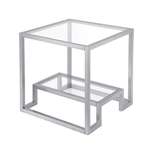 Henn&Hart Modern Geometric-Inspired Glass Side Table