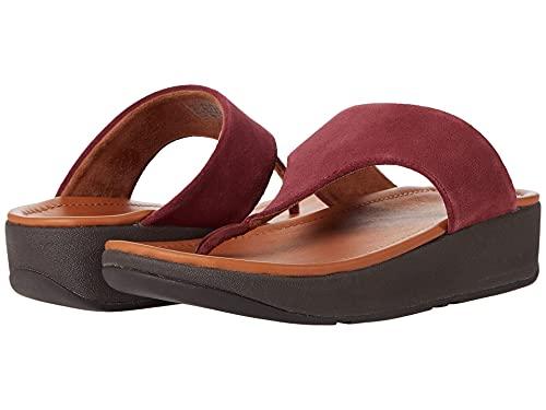 FitFlop Lulu Sleek Suede Toe-Post Sandals Oxblood Red 7 M (B)