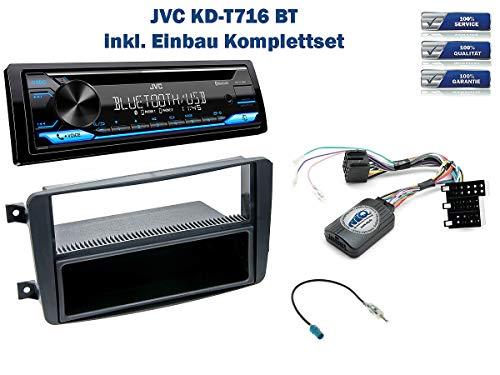 NIQ Autoradio Einbauset geeignet für Mercedes-Benz C-Klasse (W203) inkl. JVC KD-T716BT & Lenkrad Fernbedienung Adapter in Schwarz