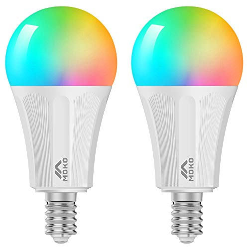 MoKo Lampadina LED E14 Colorate RGB, Intelligente Lampadine Controllo Remoto WiFi, 2 PZ 9W Luce Calda Dimmerabile, Lavora con SmartThings, Alexa Echo, Google Home per Controllo App Smart Life No Hub