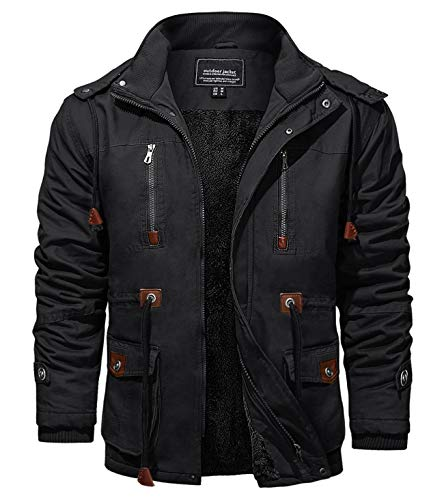KEFITEVD Chaquetas de invierno para hombres Fleece Windbeaker a prueba de viento con capucha bombardero chaqueta de carga militar Abrigos con múltiples bolsillos
