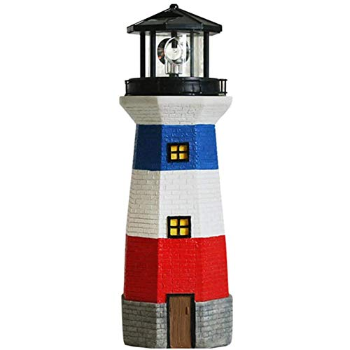 NanXi Solar garden statues Lighthouse With Rotating lamp outdoor decoration craft ornaments lights garden terrace lawn sculptures A 13x13x38cm (5x5x15inch)