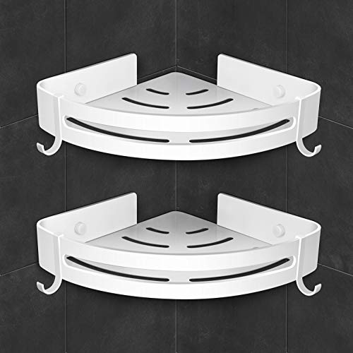 AK KYC Shower Corner Shelf Shower Caddy Wall Mounted Bathroom Shelves-Strong Adhesive (No Drilling) in 2 Pack with 4 Removable Hooks Rustproof Aluminum Basket Organizer Hanging Storage kitchen-White