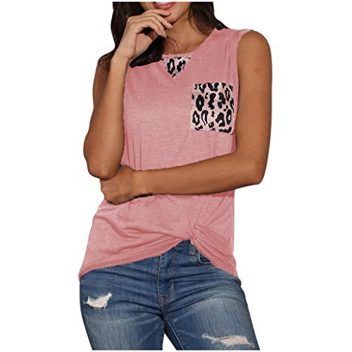 MRULIC Damen Tank Top Leopard V-Ausschnitt Blusen ÄRmellose Shirt Tunika Sommertop Pullover LäSsige Lose Basic Tops Pullover UnregelmäßIger Saum Geschenk Zum Muttertag(Rosa,L)