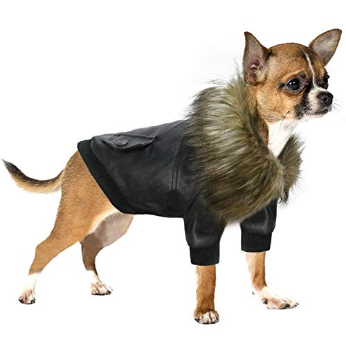 RYPET Dog Leather Jacket Waterproof - Small Dog Winter Coat Puppy Jacket for Winter Weather Black M