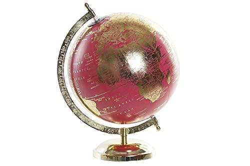 Globo Terraqueo de Escritorio Decorativo Aluminio y PVC 27 cm Dorado