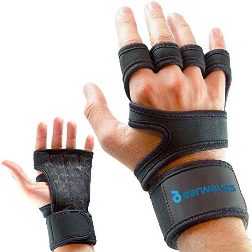 Earwaves ® Versatile - Crossfit Handschuhe für Damen & Herren mit integrierter Handgelenk Bandage. Trainingshandschuhe Hand Grips für Calisthenics, Fitness, Gewichtheben, Gymnastik, Kettlebells.
