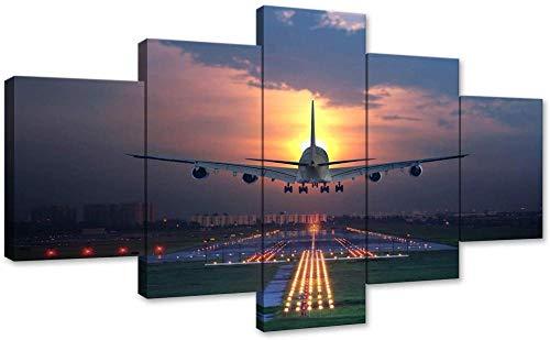 HNSYZS Pintura 5 Lienzo Pintura de Pared Puesta de Sol Aeroplano césped Aeropuerto Aeroplano baño de Pared diseño artísticos para Interiores