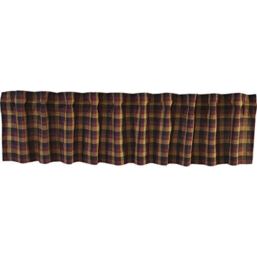 VHC Brands Primitive Kitchen Window Curtains-Heritage Farms Valance, 16x90, Deep Burgundy Red