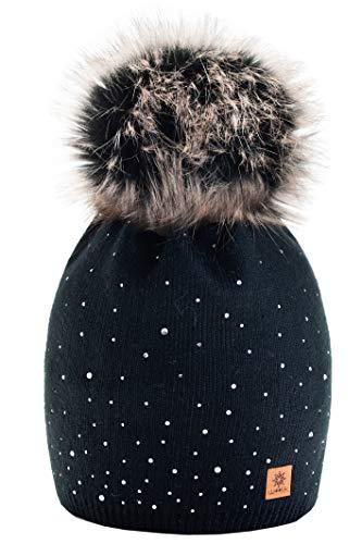 morefaz Wurm Winter Strickmütze Mütze Damen Kristalle Kiesel mit Große Bommel Pompon l SKI (Black) (MFAZ Ltd)