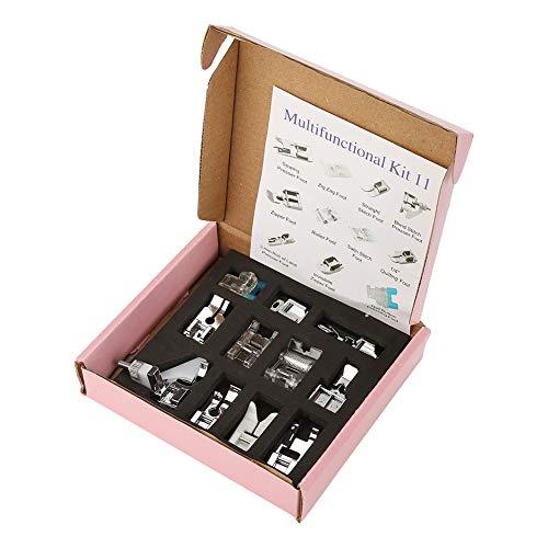 Sheens Juego de pies de Prensa de máquina de Coser de 11 Piezas, Kit de pie de máquina de Coser de prensatelas para máquinas de Coser domésticas(Rosado)