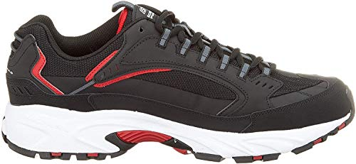 Skechers Men's Stamina Cutback Trainers, Black (Black Leather/Pu/Mesh/Red Trim BKRD), 13 (48.5 EU)