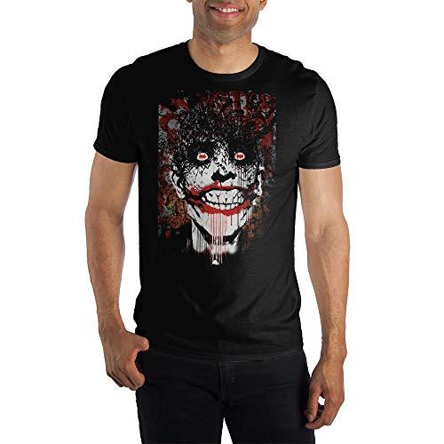 DC Comics Batman Joker Smile Bat Eyes Specialty Soft Hand Print Tee Shirt T-Shirt-Medium Black
