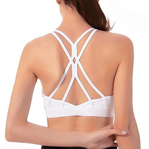 Cordaw Strappy Sports Bra Yoga Bra Tops Crisscross Open Back Padded Medium Support Workout for Women, White Medium
