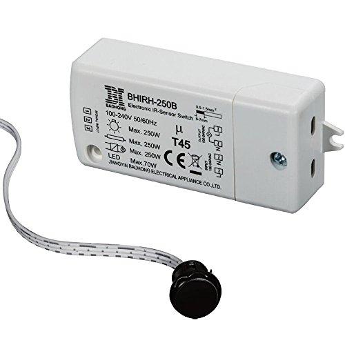 Interruptor de gabinete interior-HoneyFly Interruptor de sensor de infrarrojos (Puerta abierta, Luz encendida/Puerta cerrada, Luz apagada),250W (70W máx. Para LED),100-240V 2M cable,5-10CM Detección