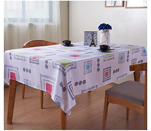 Liveinu Nappe Rectangulaire Tissu de Table Lavable Entretien Facile Résistant Imperméable Anti-tâche Nappe de Table pour Picnic Cuisine Jardin Terrasse Balcon Motif Géométrique Blanc 100x100cm