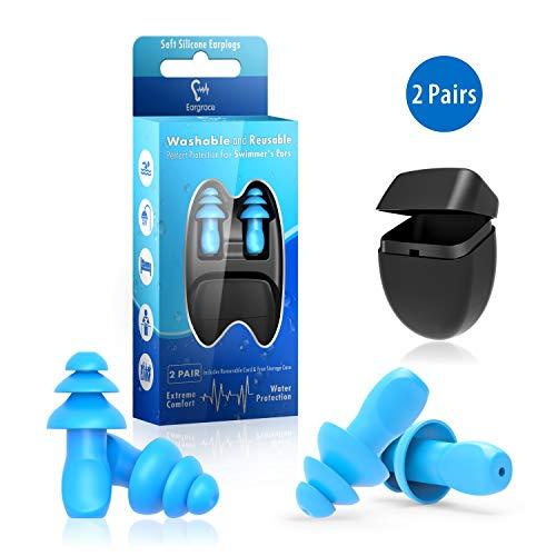Gehörschutzstöpsel zum Schwimmen - 2 Paar Wasserdichter wiederverwendbarer Silikon-Gehörschutzstöpsel zum Schwimmen, Duschen, Arbeiten, Schlafen, Lernen und andere laute Ereignisse
