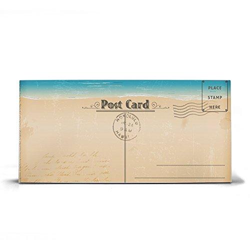 banjado Design Magnettafel grau | Wandtafel magnetisch 37x78cm groß | Metall Pinnwand | Memoboard mit Magneten und Montageset | Motiv Postkarte