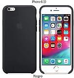 Funda Silicona para iPhone 6 y 6s Silicone Case, Textura Suave, Forro Interno Microfibra (Negro)