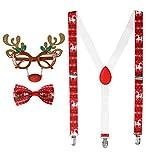 Unbekannt Rentier Elch Weihnachts-Set Brille, Hosenträger und Weihnachtsfliege