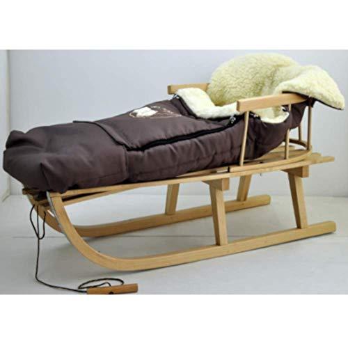 Holzschlitten Kinderschlitten aus Buchenholz Rückenlehne Zugseil + Winterfußsack Schlittensack Fußsack Braun Schlitten Kinderwagen