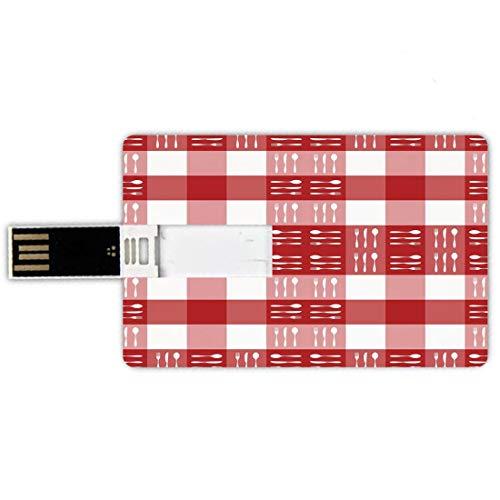 32GB Chiavette USB a forma di carta di credito scacchi Memory Card stile carta di credito Sagome di posate su piazze pranzo pic-nic a tema piastrelle cucchiai forchette coltelli decorativi,bianco rosa