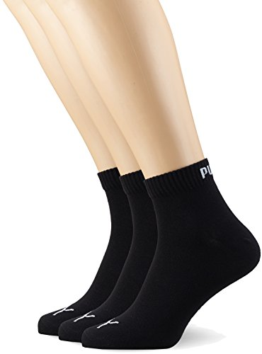 Puma Quarter Plain, Calcetín Unisex Adulto, Negro (Black), 35-38, (Pack de 3)